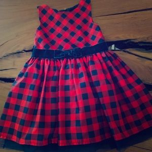 3T Girls Red and Navy Check Dress